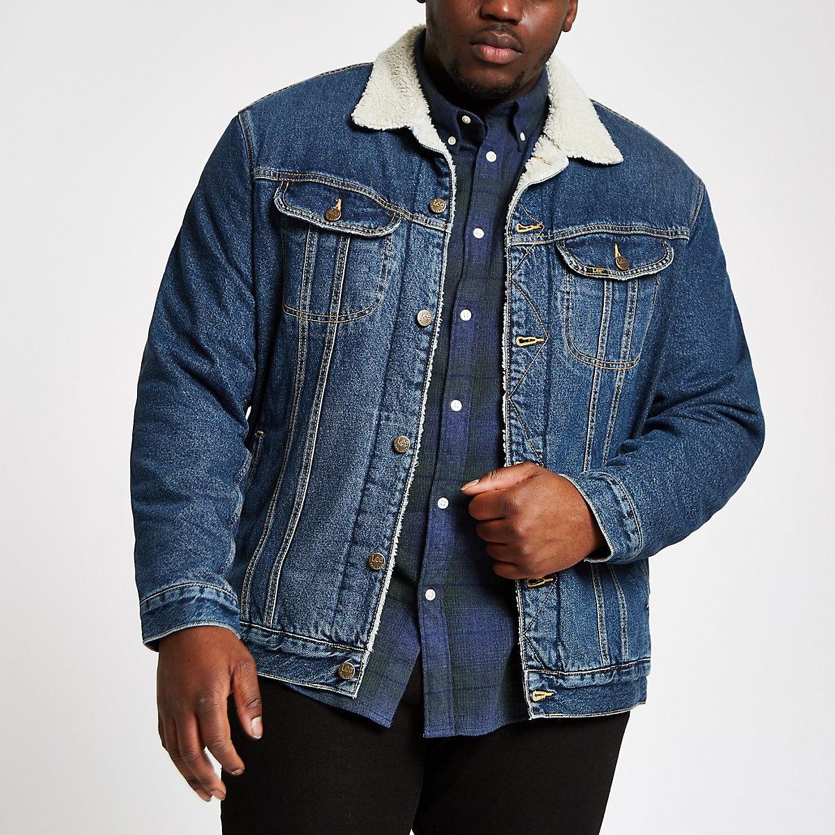 Lee Big and Tall blue fleece denim jacket