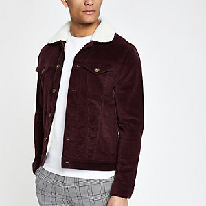 Dark red fleece collar cord jacket