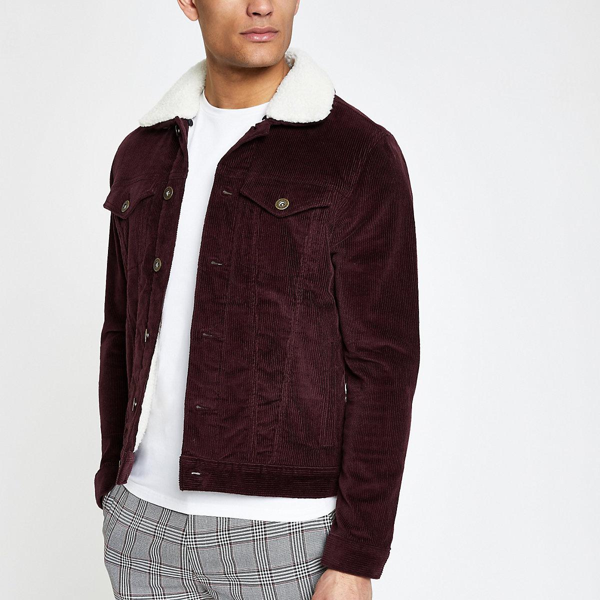 Dark red fleece collar cord jacket