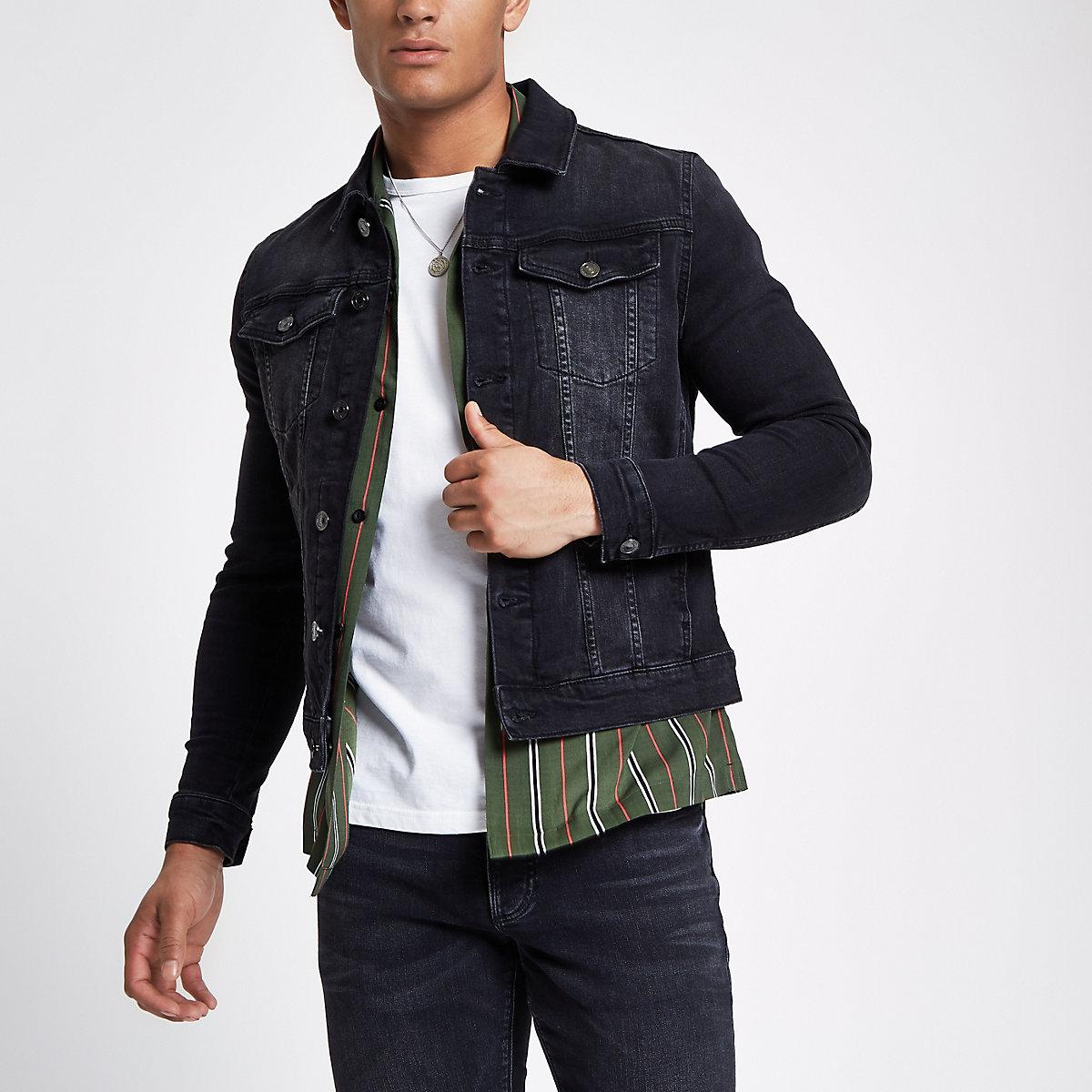 Veste en jean ajustée noir délavé