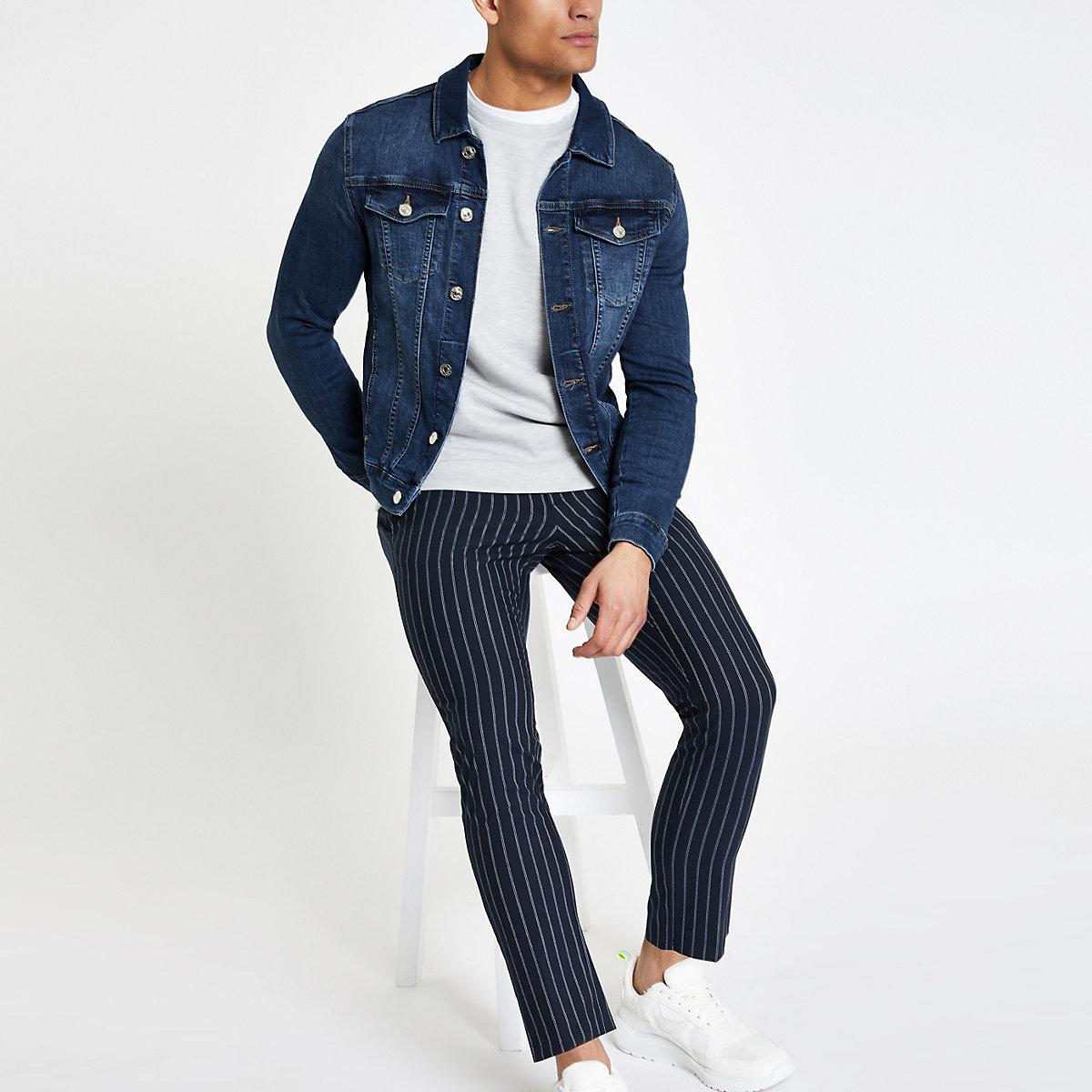 Dark blue muscle fit denim jacket