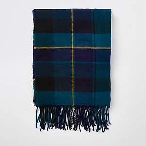 Green check print scarf