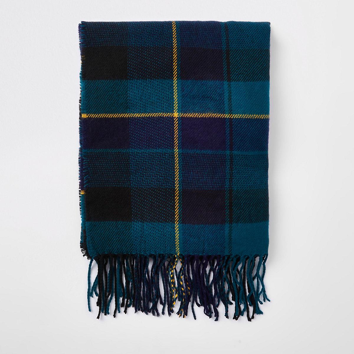 Green check print scarf