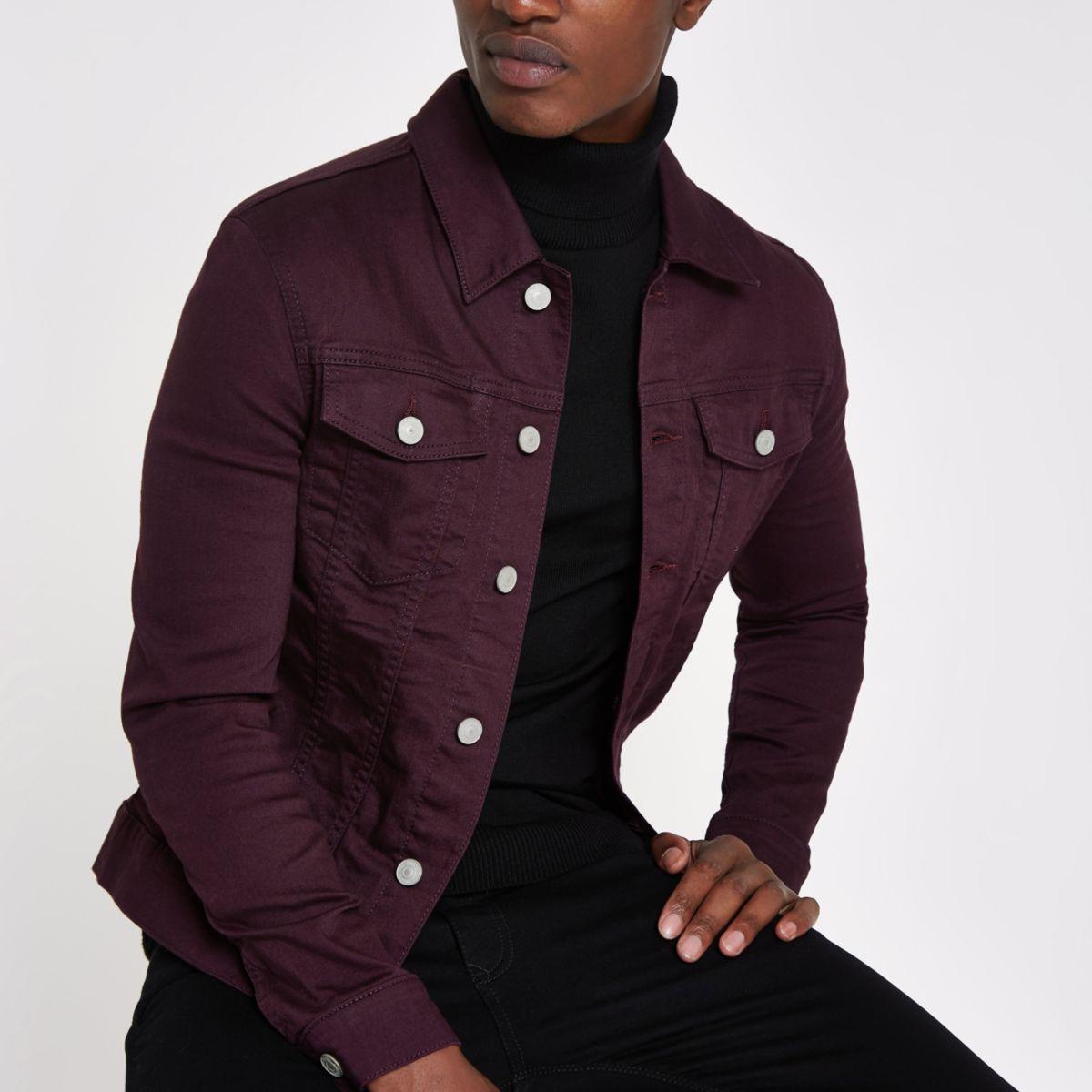 Burgundy muscle fit denim jacket