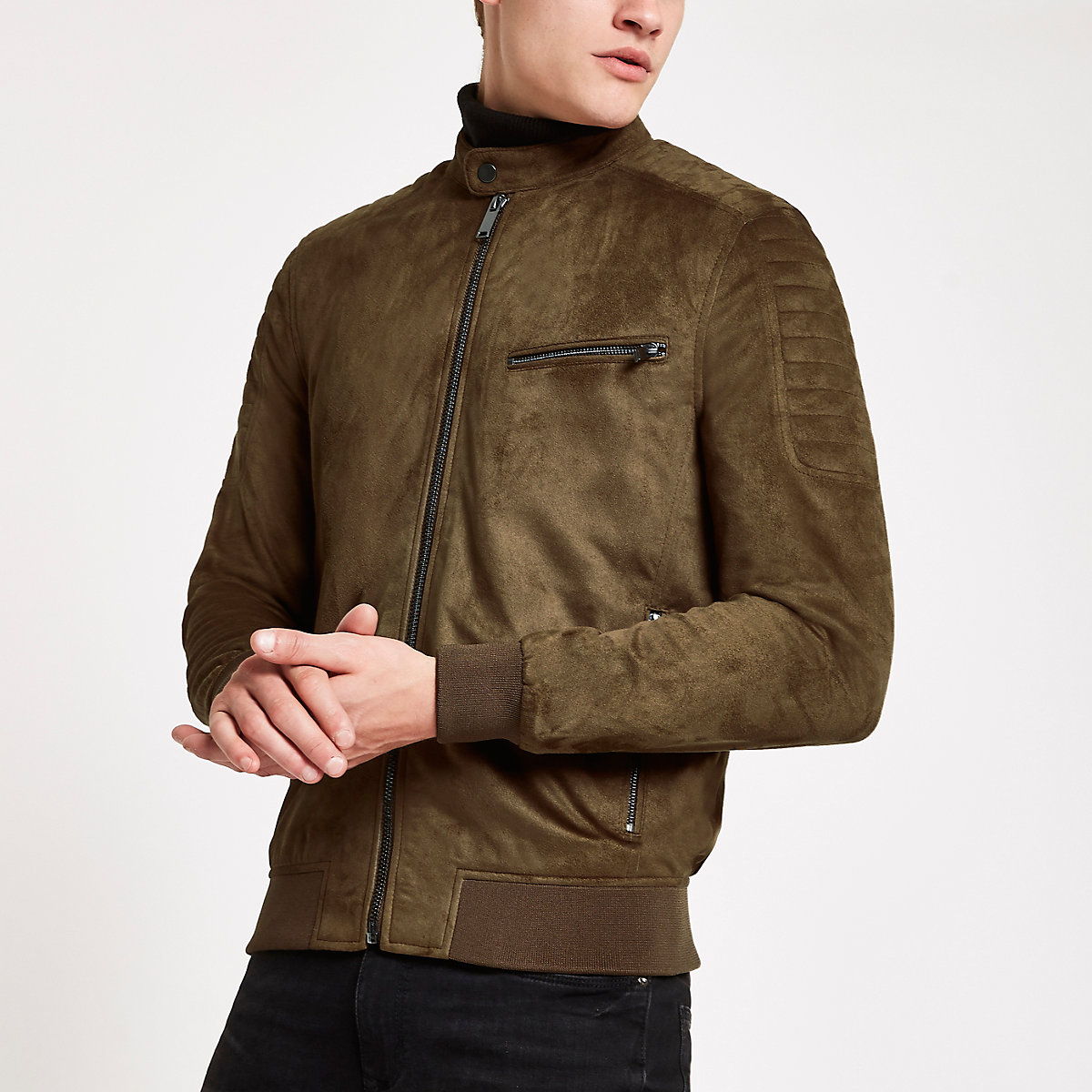 Dark brown faux suede racer neck jacket