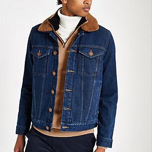 Veste en jean bleu foncé à doublure imitation mouton
