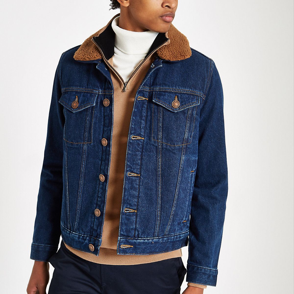 Dark blue fleece lined denim jacket