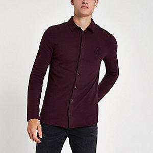 Donkerrood piqué aansluitend overhemd met lange mouwen