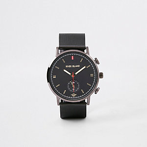 Grey gunmetal mesh strap round watch