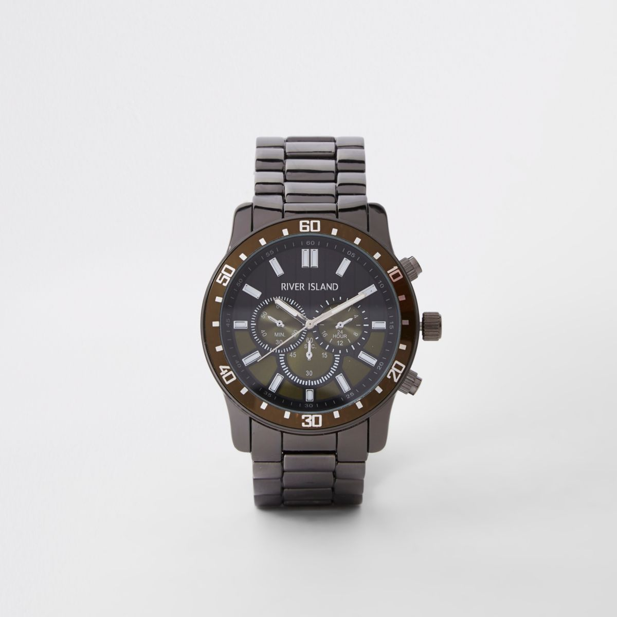 Grey gunmetal three dials chain link watch