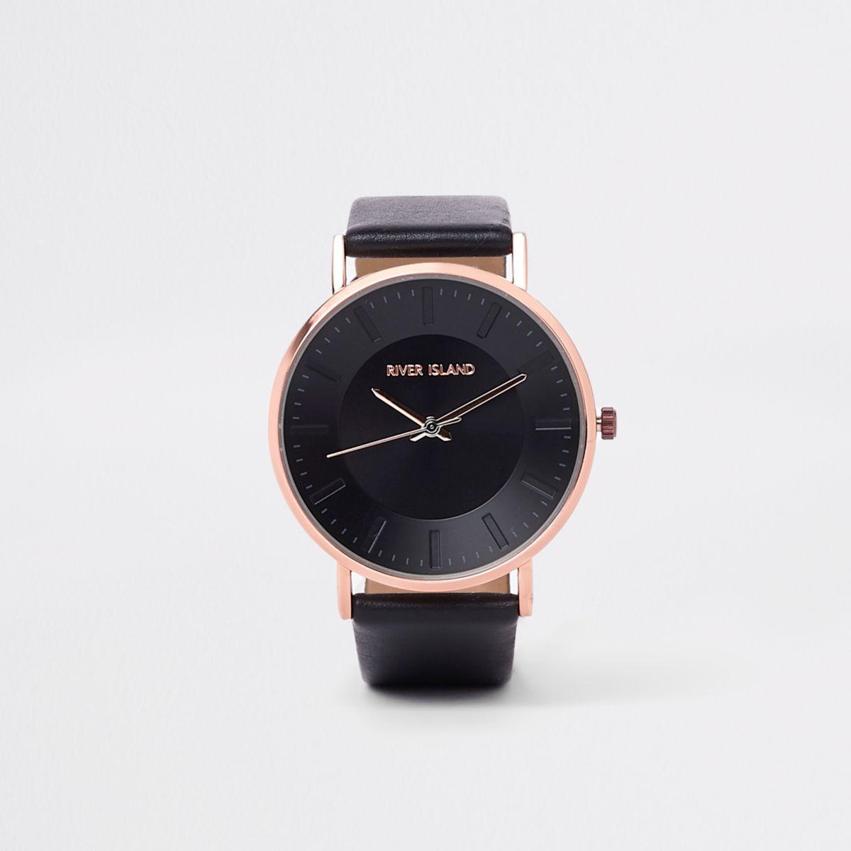 Black bronze tone minimal watch