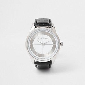Black silver tone face watch