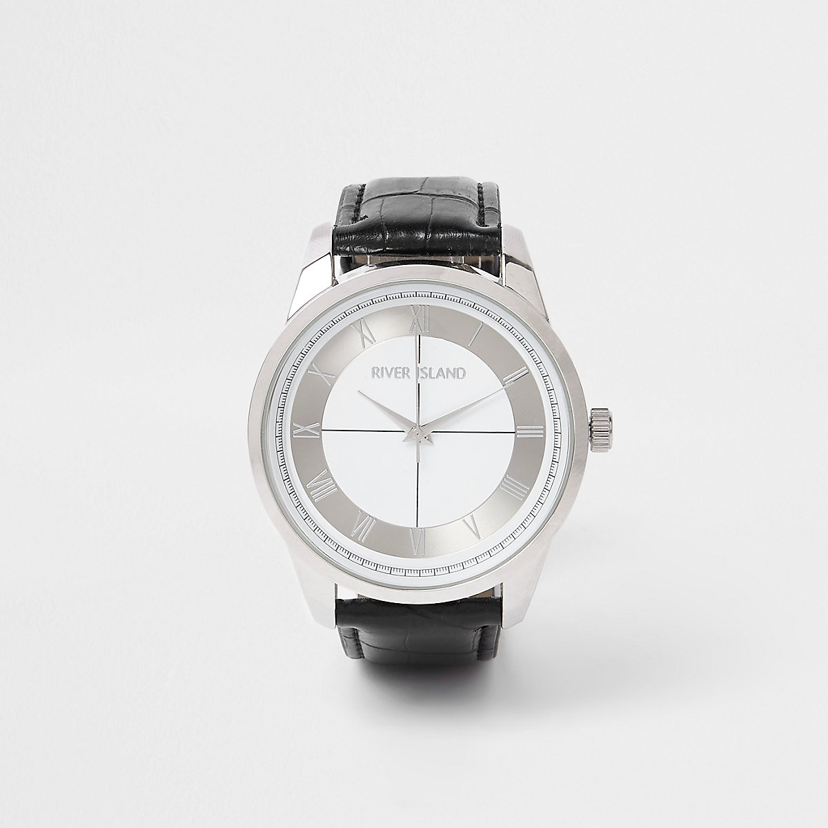Black silver tone face watch