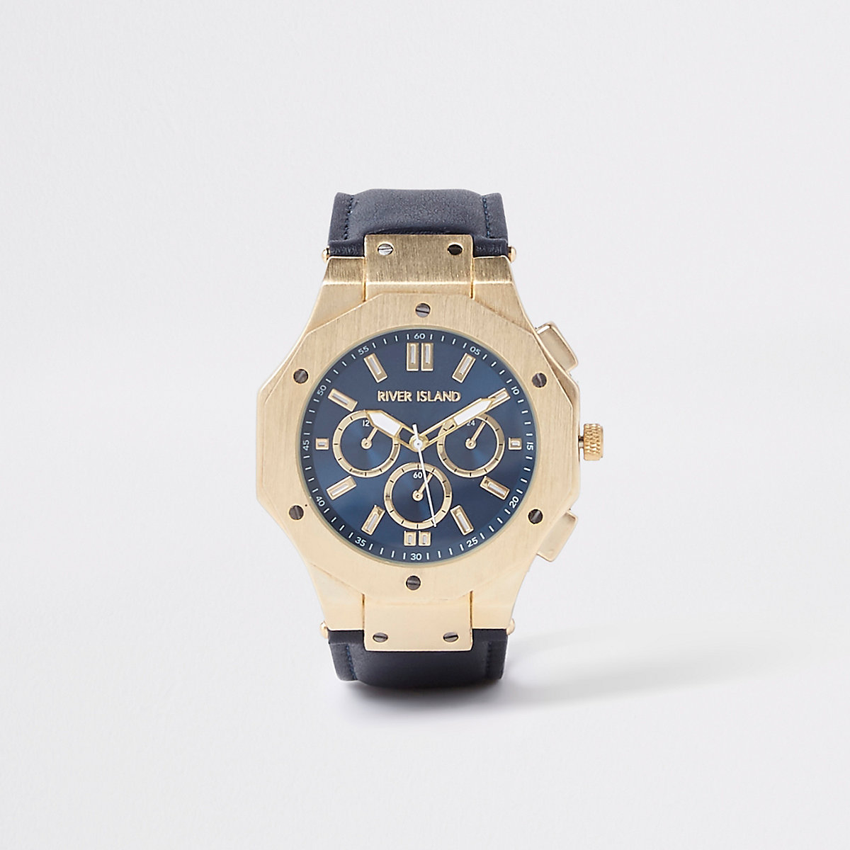 Gold tone navy face watch