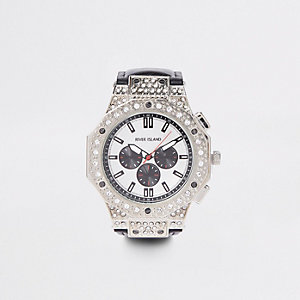 Black silver tone rhinestone watch
