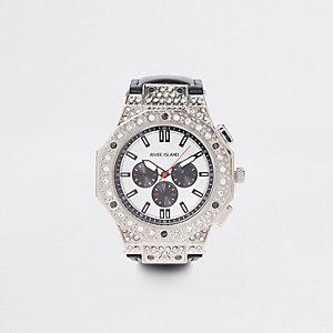 Black silver tone rhinestone watch