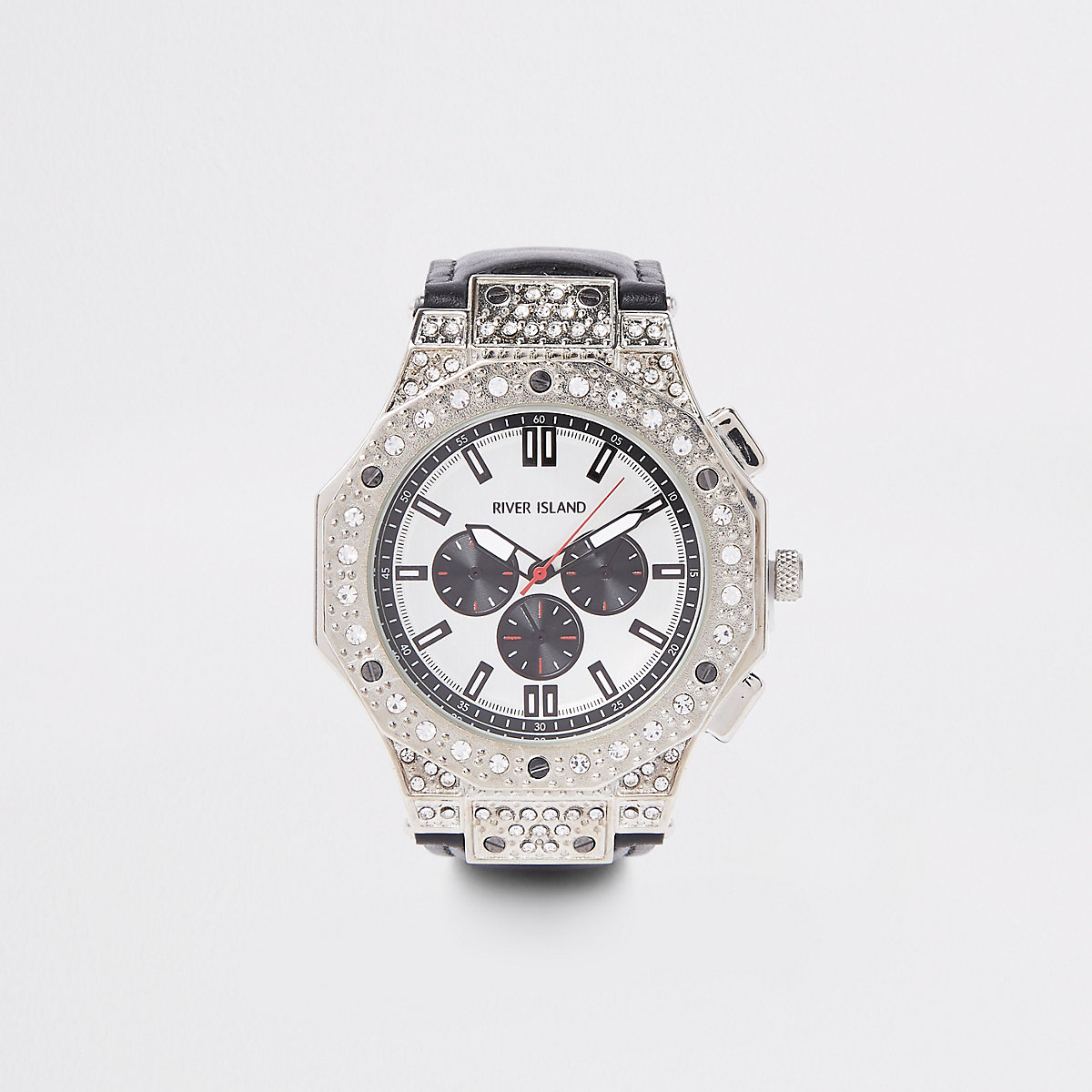 Black silver tone diamante watch
