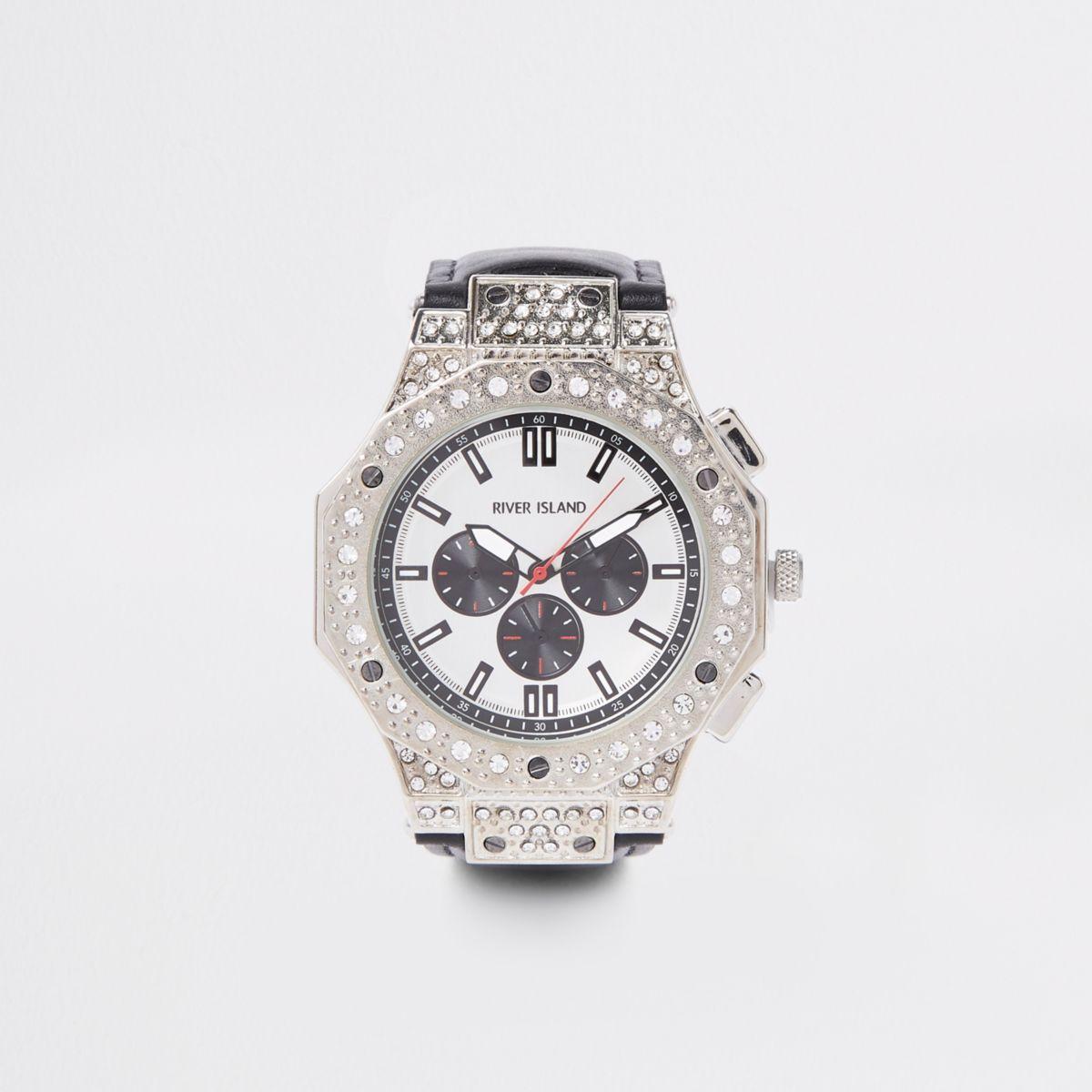 Black silver tone diamante watch