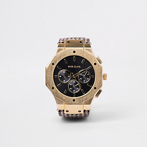 Brown gold tone check watch