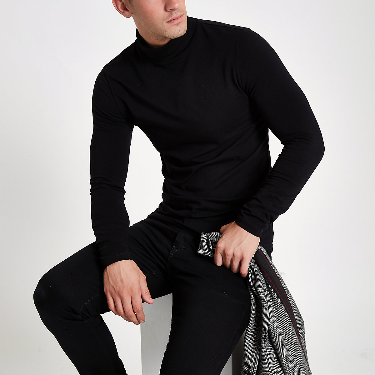 Black muscle fit roll neck T-shirt