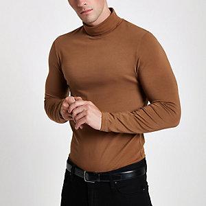 Braunes Muscle Fit T-Shirt mit Rollkragen