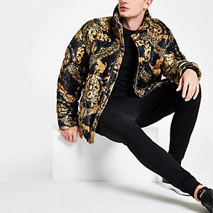 Black velvet baroque print puffer jacket
