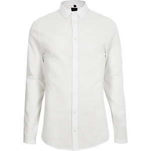 White textured button-down long sleeve shirt