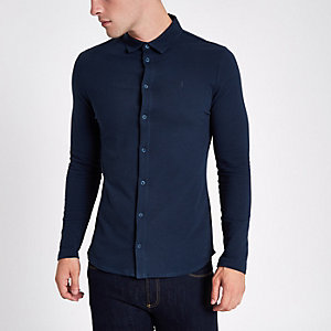 Navy textured button-up long sleeve shirt