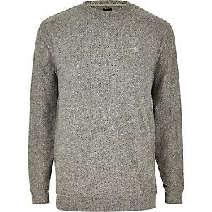 Grau meliertes Slim Fit T-Shirt mit langen Ärmeln
