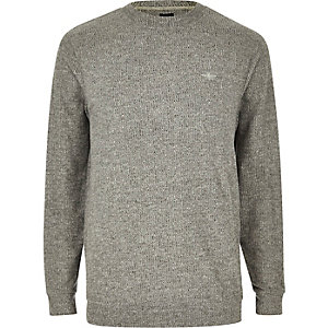 Grey marl slim fit long sleeve T-shirt