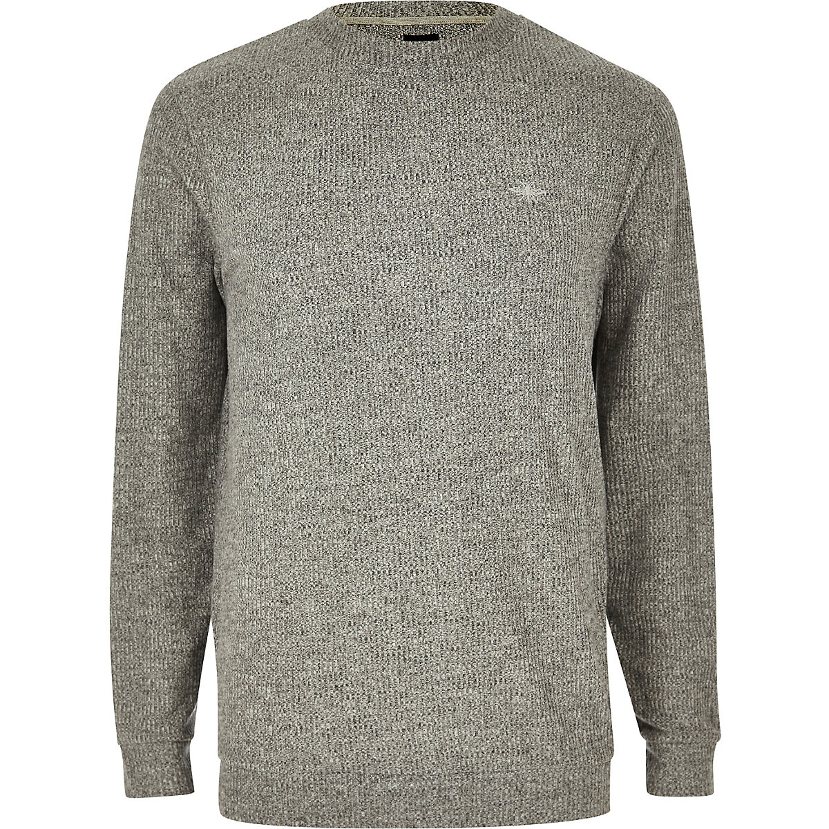 Grey marl slim fit long sleeve T-shirt