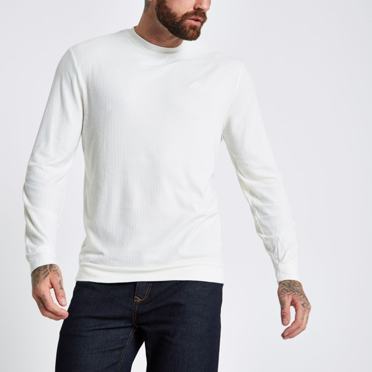 Ecru slim fit wasp embroidered sweater