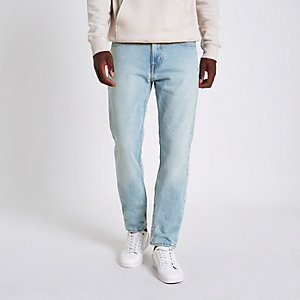 Lee light blue wash slim fit Rider jeans