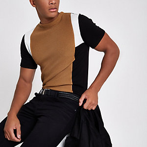 Brown knit block print slim fit T-shirt