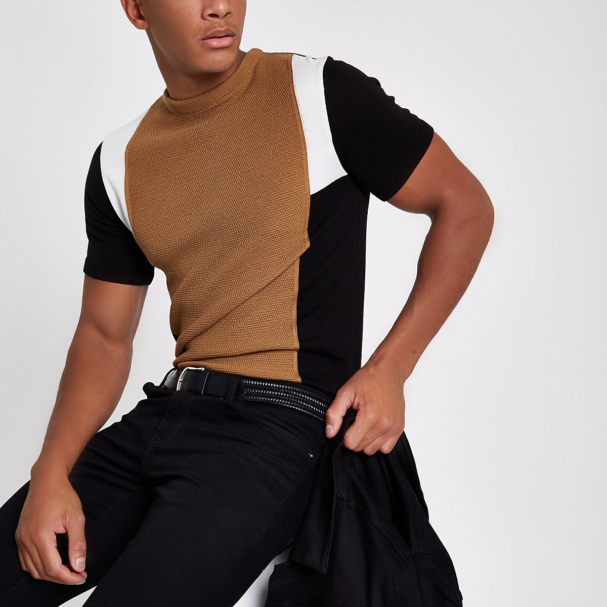 Brown knit block print slim fit T-shirt