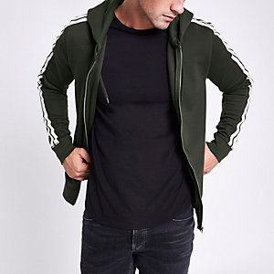 Khaki slim fit tape zip front hoodie