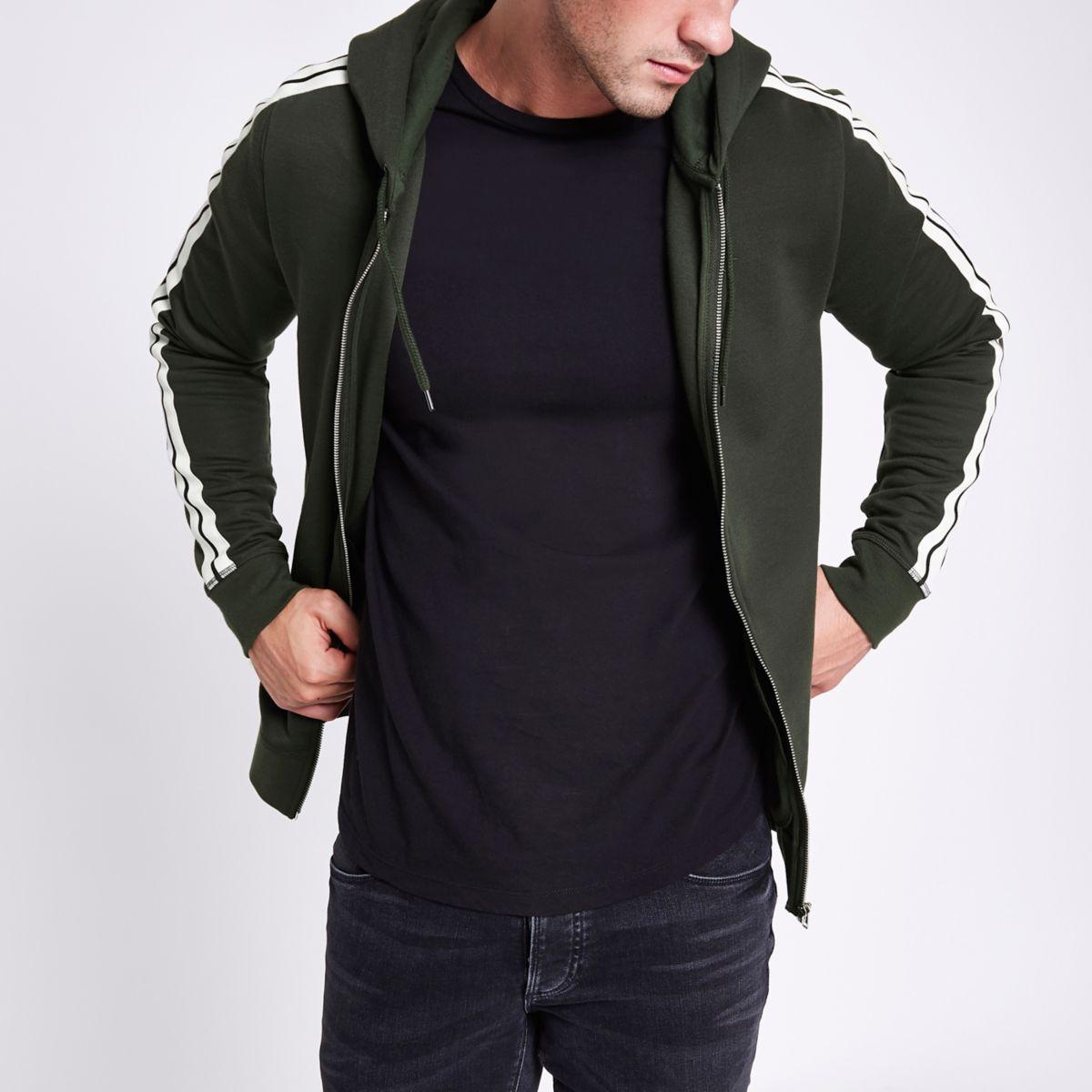 Dark green slim fit tape zip front hoodie