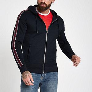 Navy slim fit tape zip front hoodie