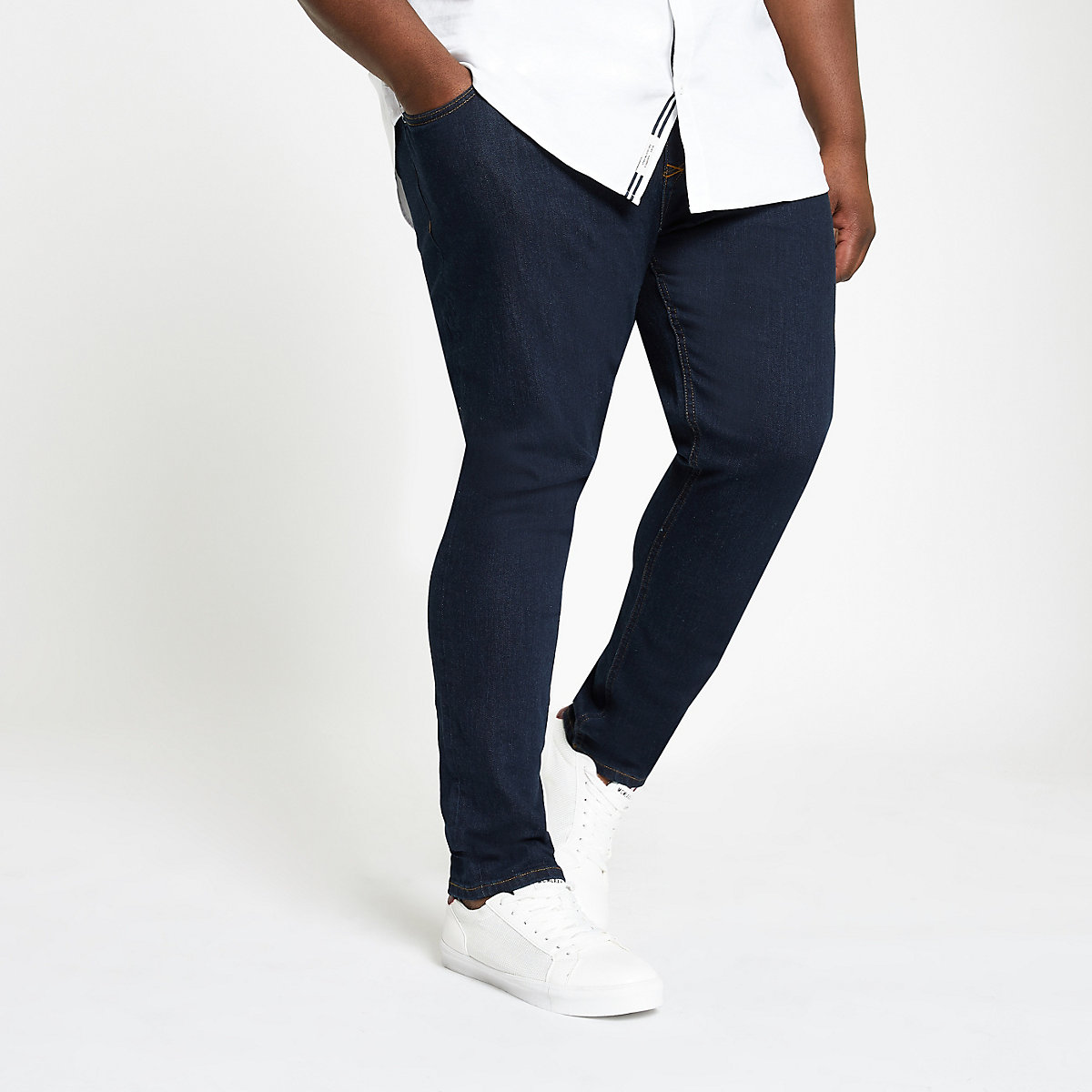 Big and Tall dark blue skinny fit jeans