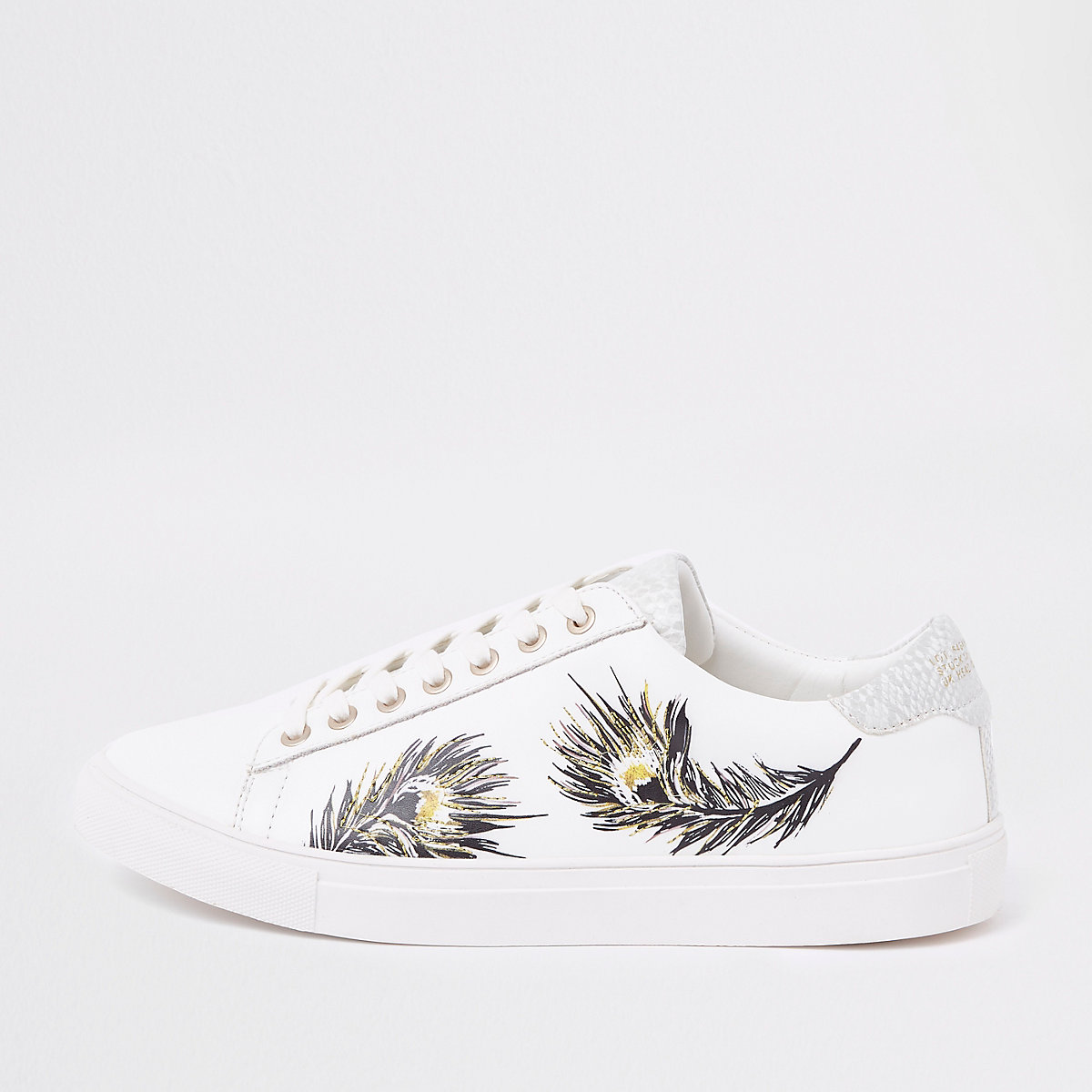 White feather print low top cupsole trainers