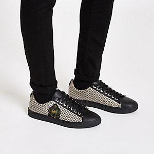 Zwarte lage sneakers met RI-logo en cupzool