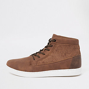 Tan mid top cord panel sneakers