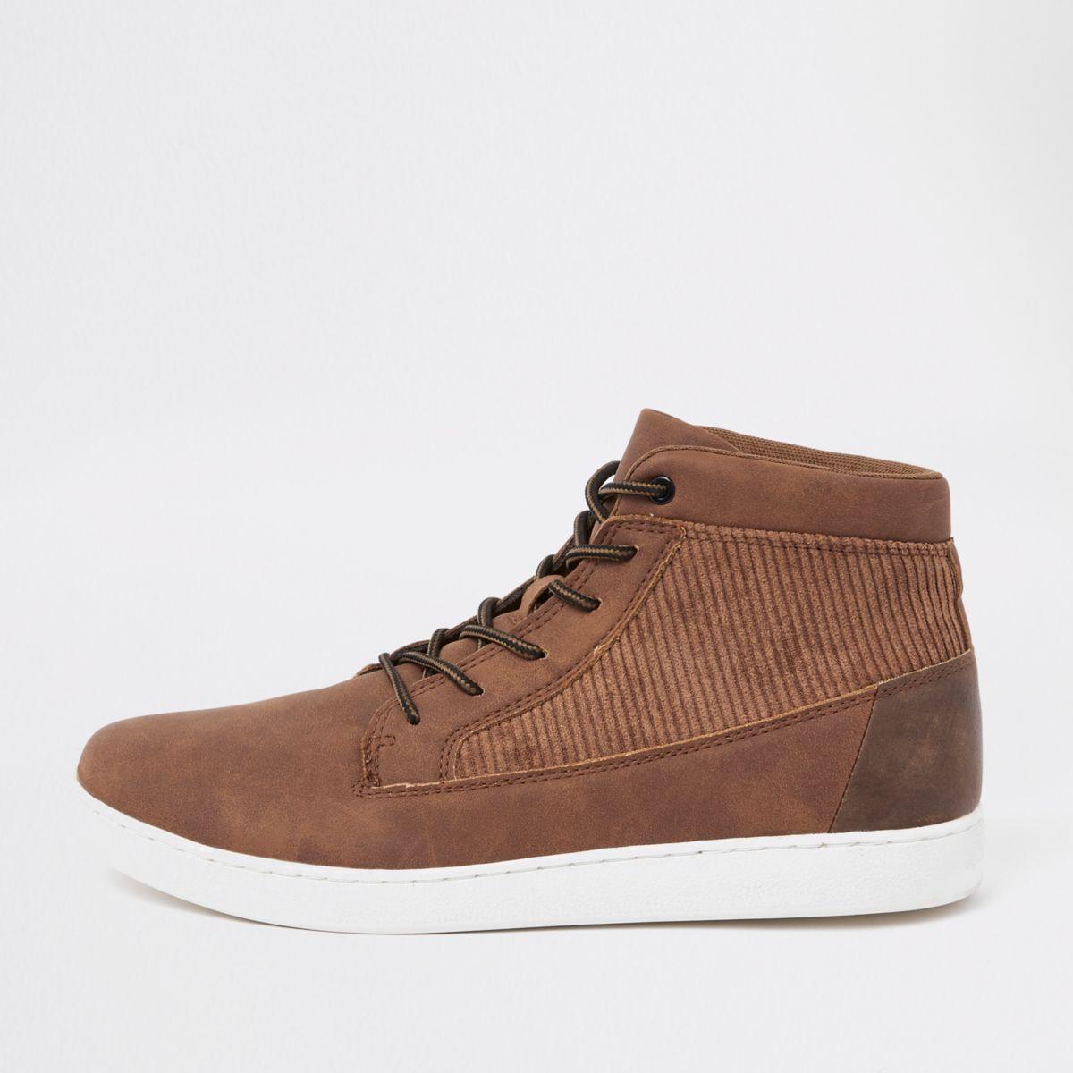 Tan mid top cord panel sneakers