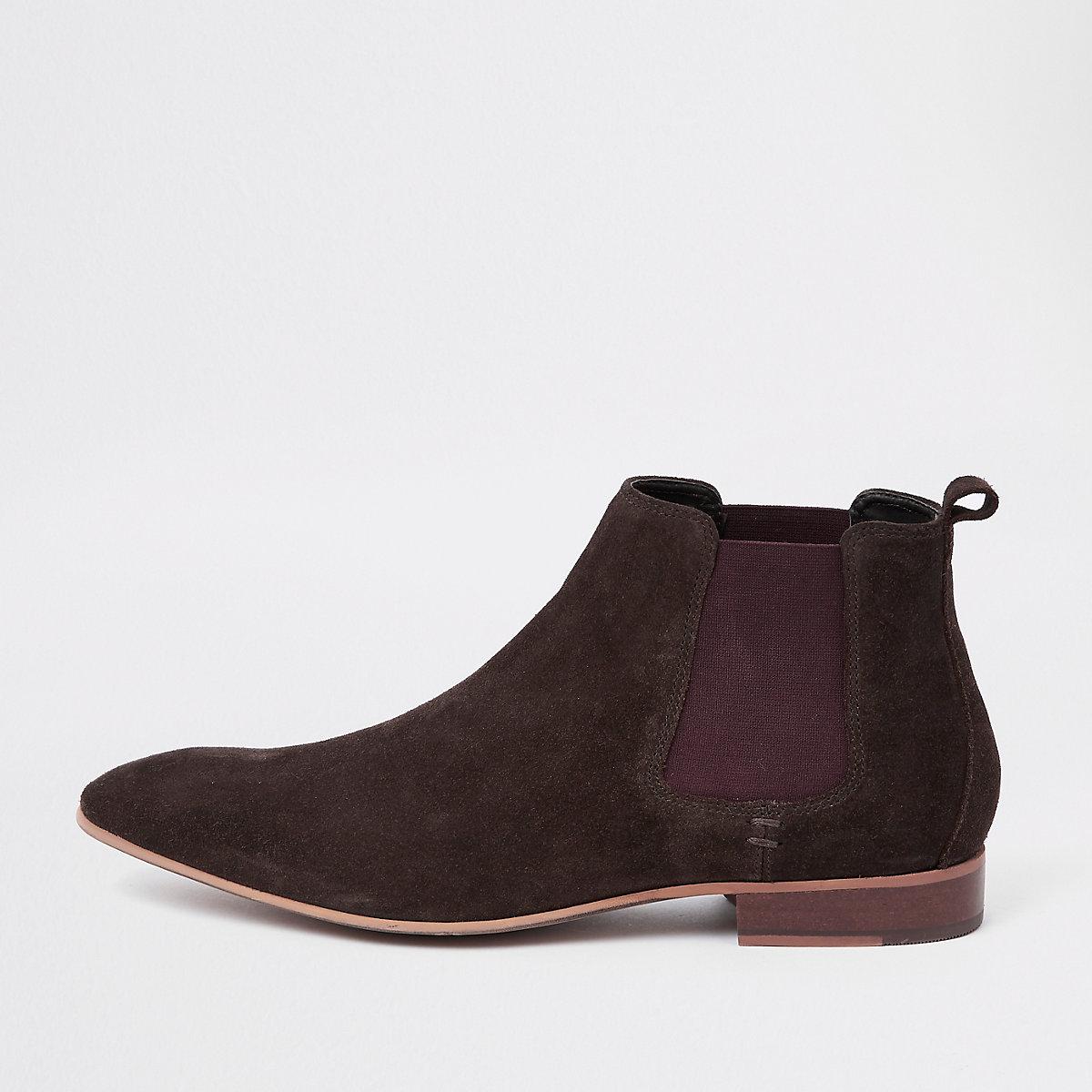 Dark brown suede chelsea boots