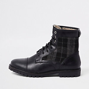 Dark grey leather check insert military boots