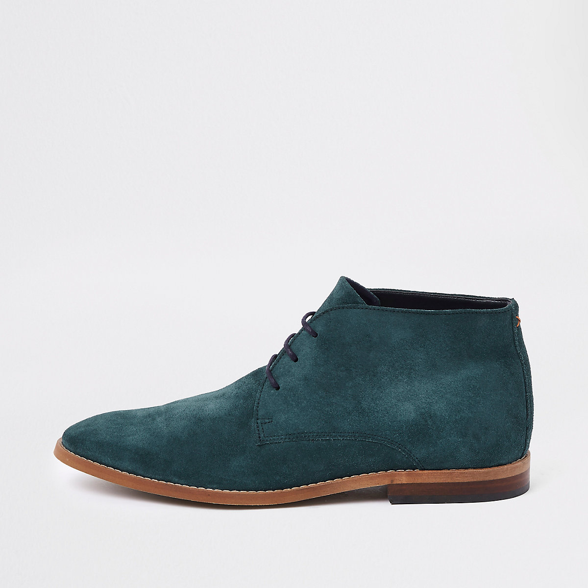 Teal blue suede desert boots