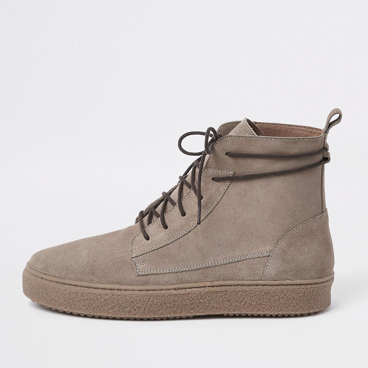 Stone suede wrap around desert boots