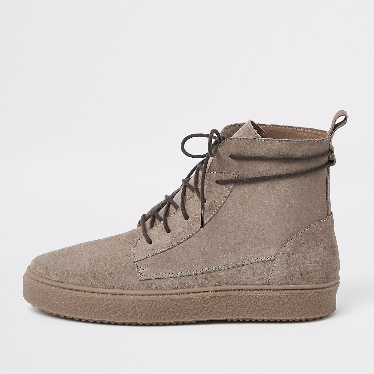 Stone suede wrap around desert boots