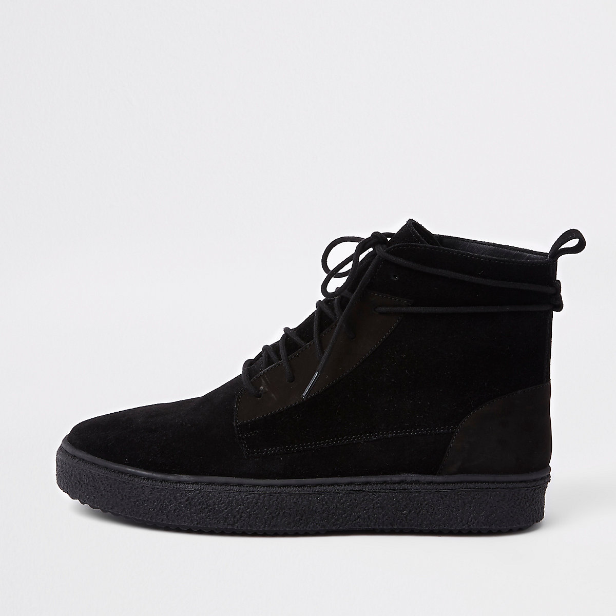 Black suede wrap around desert boots