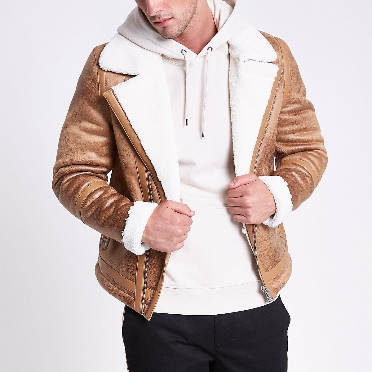 Light brown fleece lined biker jacket